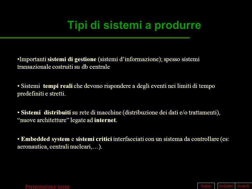 IndietroAvantiInizio Presentazione corso Tipi di sistemi a produrre Importanti sistemi di gestione (sistemi dinformazione); spesso sistemi transaziona