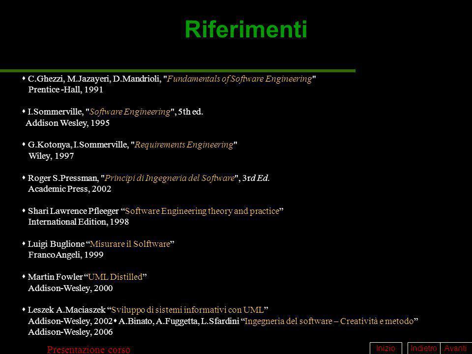 IndietroAvantiInizio Presentazione corso Riferimenti C.Ghezzi, M.Jazayeri, D.Mandrioli,