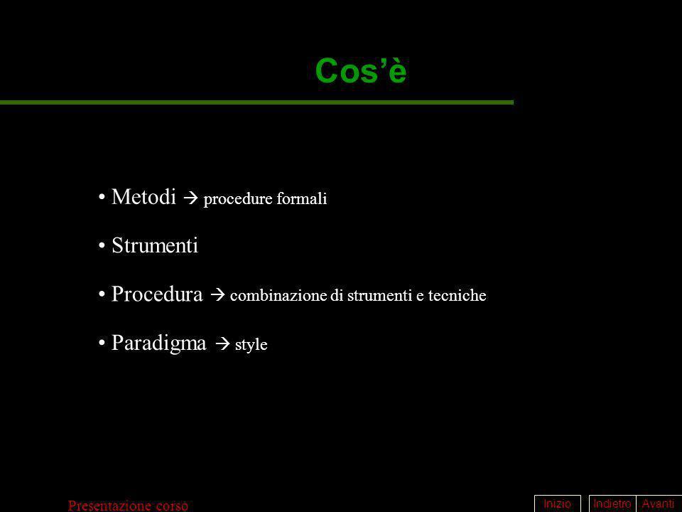 IndietroAvantiInizio Presentazione corso Cosè Metodi procedure formali Strumenti Paradigma style Procedura combinazione di strumenti e tecniche