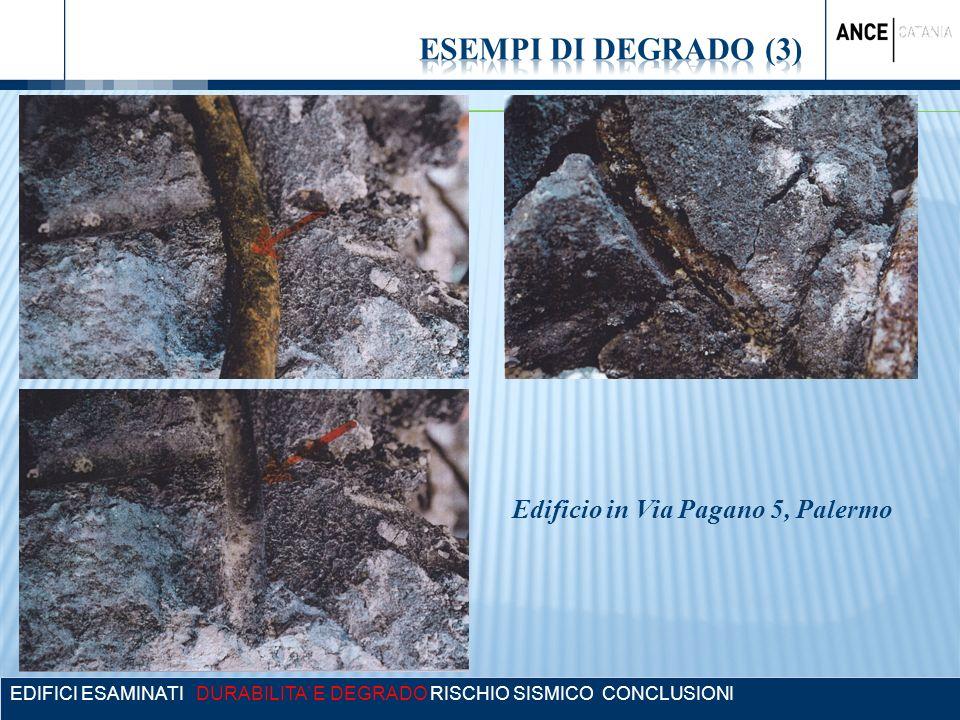 EDIFICI ESAMINATI DURABILITA E DEGRADO RISCHIO SISMICO CONCLUSIONI Edificio in Via Pagano 5, Palermo
