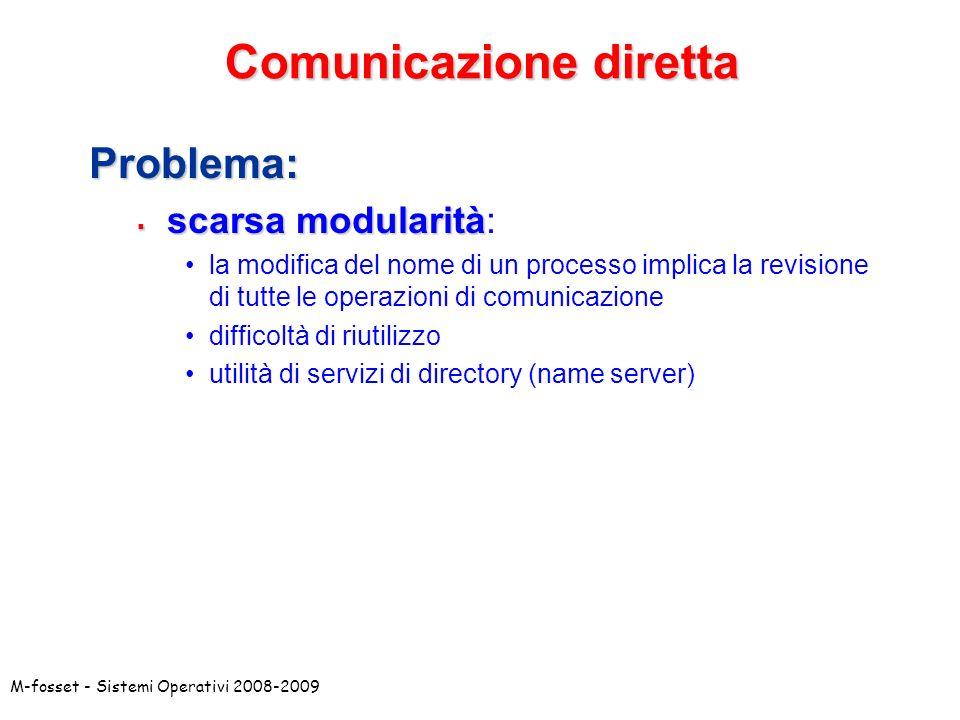 M-fosset - Sistemi Operativi 2008-2009 Comunicazione indiretta: mailbox La mailbox (o porta) è una risorsa astratta accessibile da più processi che rappresenta un contenitore di messaggi.