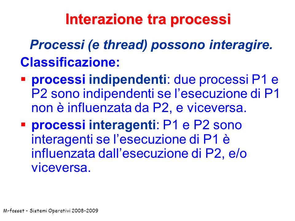 M-fosset - Sistemi Operativi 2008-2009 Interazione tra processi L interazione tra processi* e` caratterizzata da diversi parametri: Motivazioni: perche` i processi interagiscono.