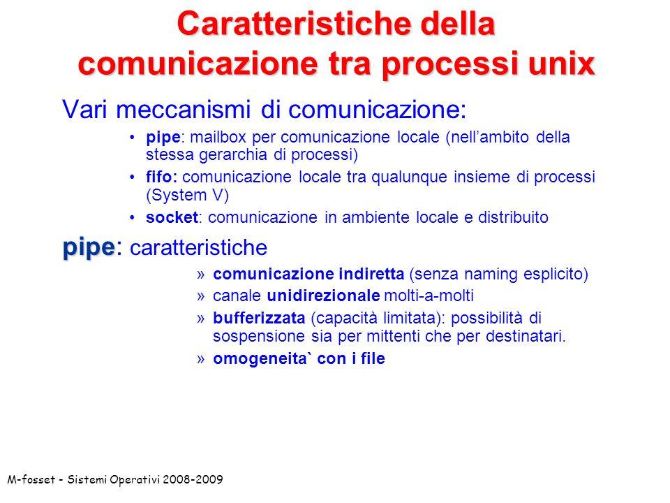 M-fosset - Sistemi Operativi 2008-2009 Caratteristiche della comunicazione tra processi unix Vari meccanismi di comunicazione: pipe: mailbox per comunicazione locale (nellambito della stessa gerarchia di processi) fifo: comunicazione locale tra qualunque insieme di processi (System V) socket: comunicazione in ambiente locale e distribuito pipe pipe: caratteristiche »comunicazione indiretta (senza naming esplicito) »canale unidirezionale molti-a-molti »bufferizzata (capacità limitata): possibilità di sospensione sia per mittenti che per destinatari.