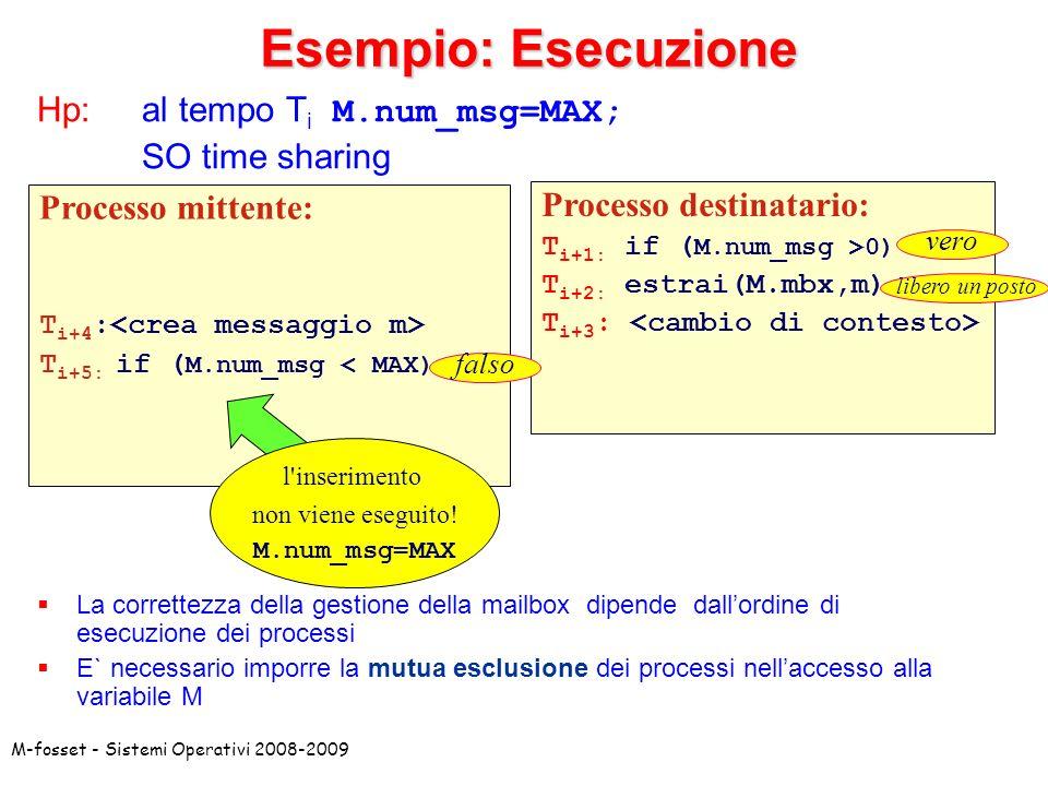 M-fosset - Sistemi Operativi 2008-2009 In caso di condivisione di risorse (variabili) può essere necessario impedire accessi concorrenti alla stessa risorsa (insieme di variabili).