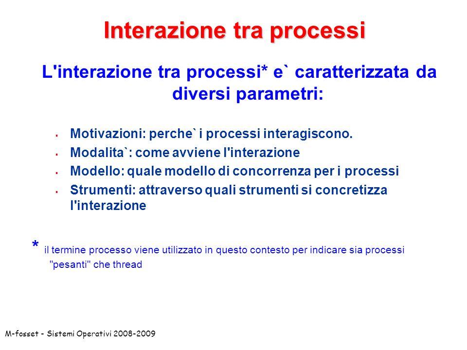 M-fosset - Sistemi Operativi 2008-2009Motivazioni Due processi possono interagire per diverse ragioni: Competizione: i processi interagiscono per coordinarsi nellaccesso a risorse comuni.