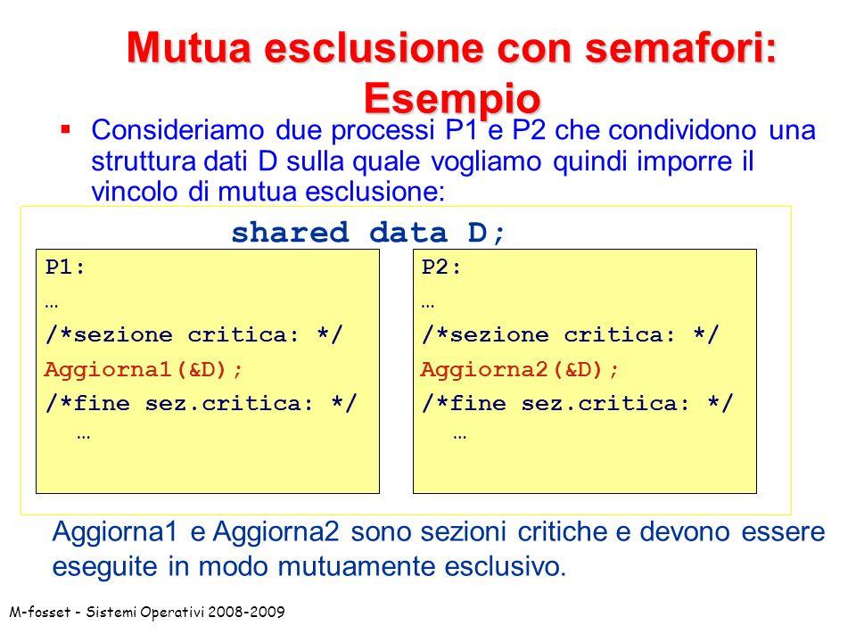 M-fosset - Sistemi Operativi 2008-2009 Mutua esclusione con semafori: Esempio Consideriamo due processi P1 e P2 che condividono una struttura dati D sulla quale vogliamo quindi imporre il vincolo di mutua esclusione: shared data D; P1: … /*sezione critica: */ Aggiorna1(&D); /*fine sez.critica: */ … P2: … /*sezione critica: */ Aggiorna2(&D); /*fine sez.critica: */ … Aggiorna1 e Aggiorna2 sono sezioni critiche e devono essere eseguite in modo mutuamente esclusivo.