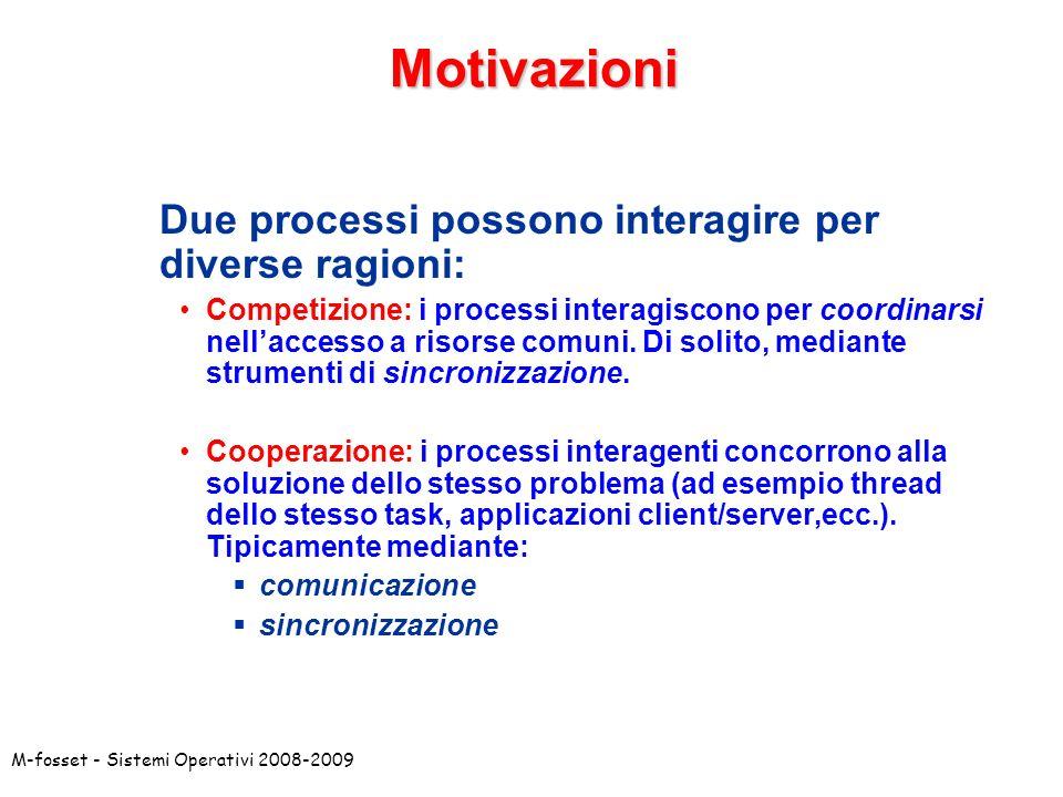 M-fosset - Sistemi Operativi 2008-2009 P2 P1 Modalita`: Comunicazione e Sincronizzazione Comunicazione: scambio di informazioni tra i processi interagenti.