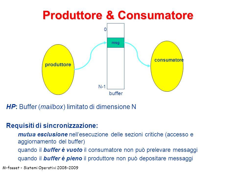 M-fosset - Sistemi Operativi 2008-2009 Produttore & Consumatore msg produttore consumatore buffer 0 N-1 HP: Buffer (mailbox) limitato di dimensione N Requisiti di sincronizzazione: mutua esclusione nellesecuzione delle sezioni critiche (accesso e aggiornamento del buffer) quando il buffer è vuoto il consumatore non può prelevare messaggi quando il buffer è pieno il produttore non può depositare messaggi