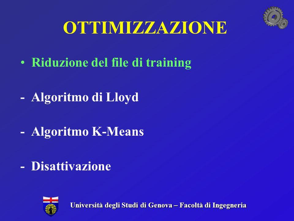 OTTIMIZZAZIONE Riduzione del file di training - Algoritmo di Lloyd - Algoritmo K-Means - Disattivazione Università degli Studi di Genova – Facoltà di Ingegneria