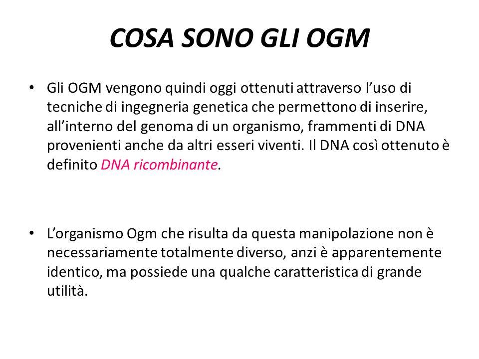 COSA SONO GLI OGM Gli OGM vengono quindi oggi ottenuti attraverso luso di tecniche di ingegneria genetica che permettono di inserire, allinterno del genoma di un organismo, frammenti di DNA provenienti anche da altri esseri viventi.
