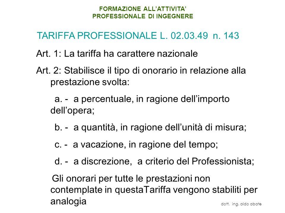 Art.1: La tariffa ha carattere nazionale Art.