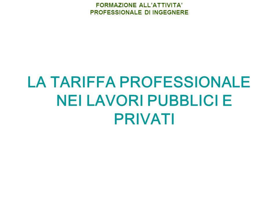 LA TARIFFA PROFESSIONALE NEI LAVORI PUBBLICI E PRIVATI FORMAZIONE ALLATTIVITA PROFESSIONALE DI INGEGNERE