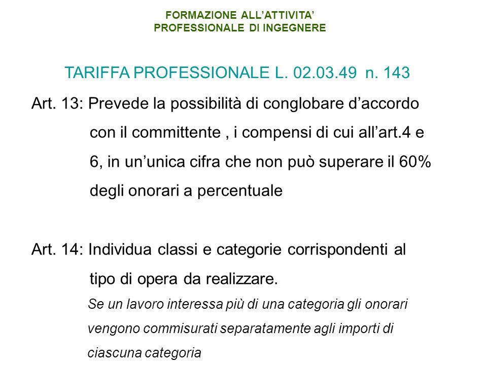 Art. 13: Prevede la possibilità di conglobare daccordo con il committente, i compensi di cui allart.4 e 6, in ununica cifra che non può superare il 60