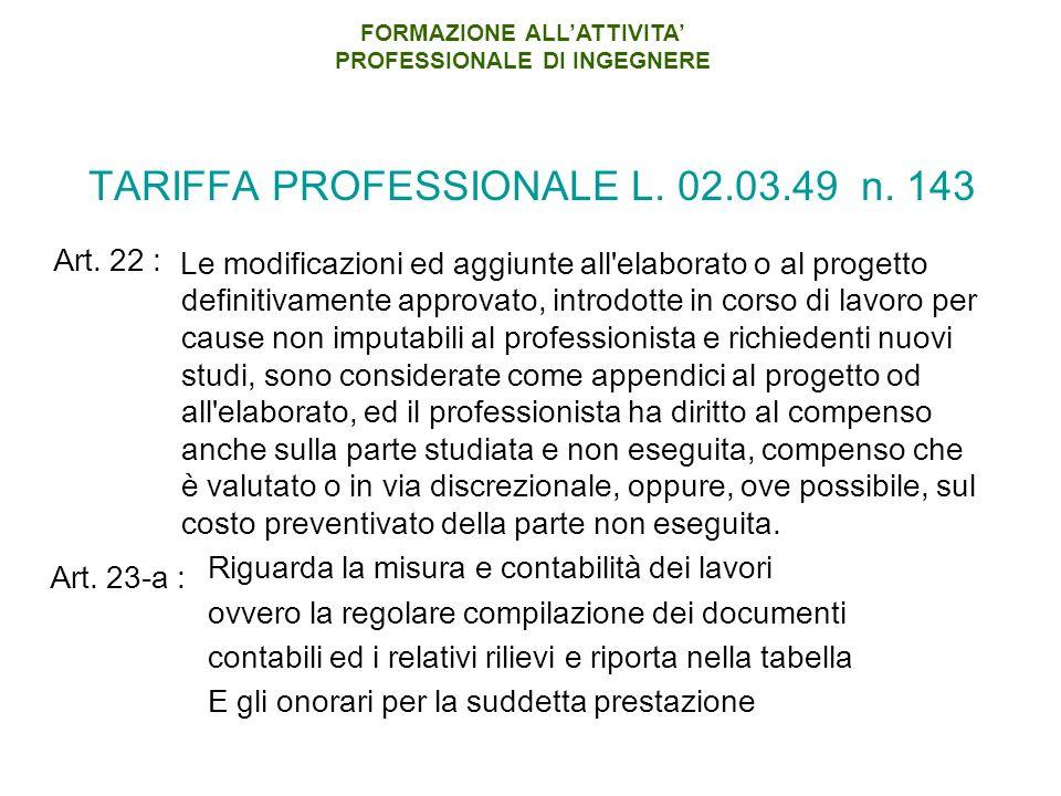 TARIFFA PROFESSIONALE L.02.03.49 n.