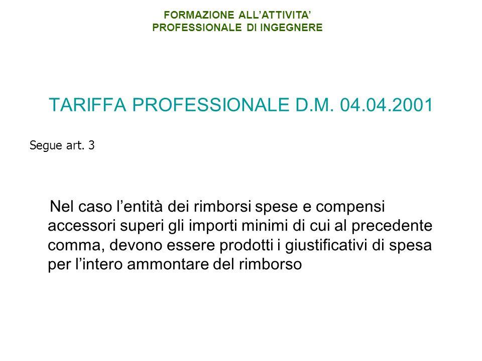 TARIFFA PROFESSIONALE D.M.04.04.2001 Segue art.