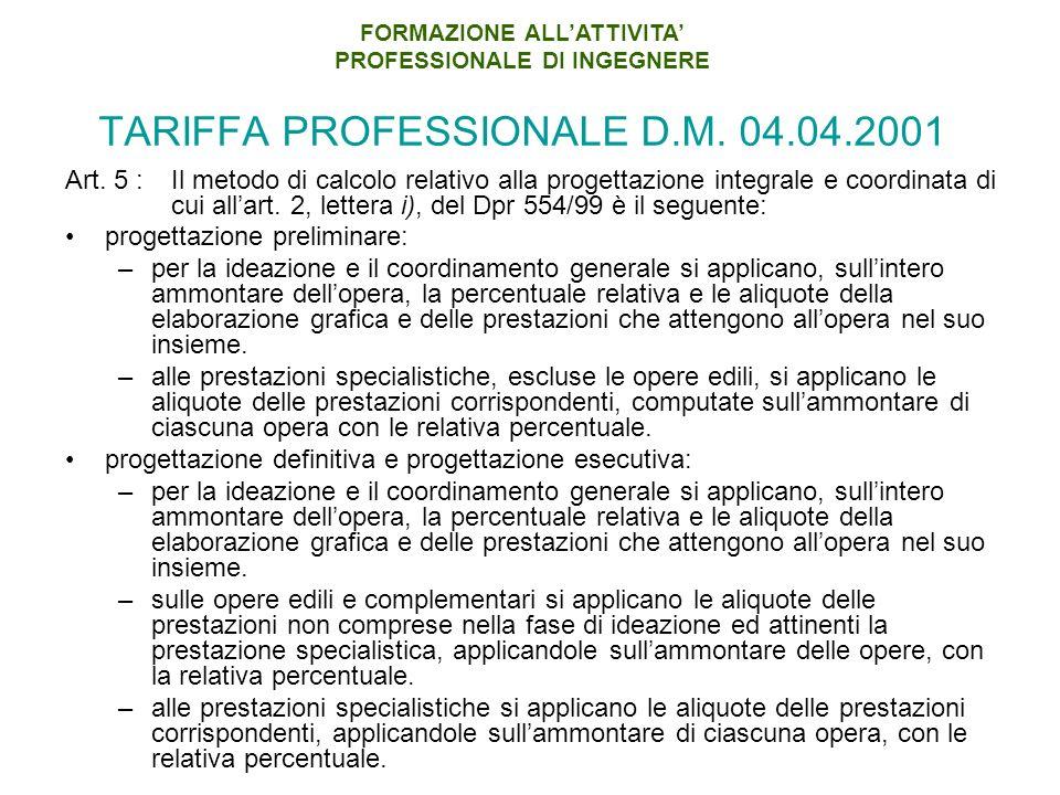 TARIFFA PROFESSIONALE D.M.04.04.2001 Art.