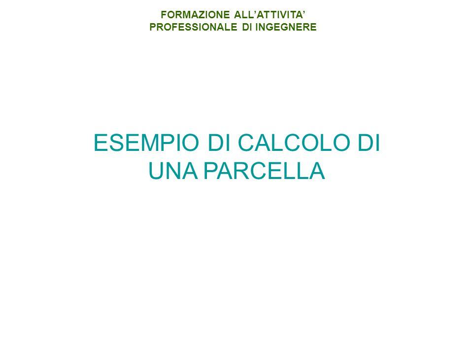 ESEMPIO DI CALCOLO DI UNA PARCELLA FORMAZIONE ALLATTIVITA PROFESSIONALE DI INGEGNERE