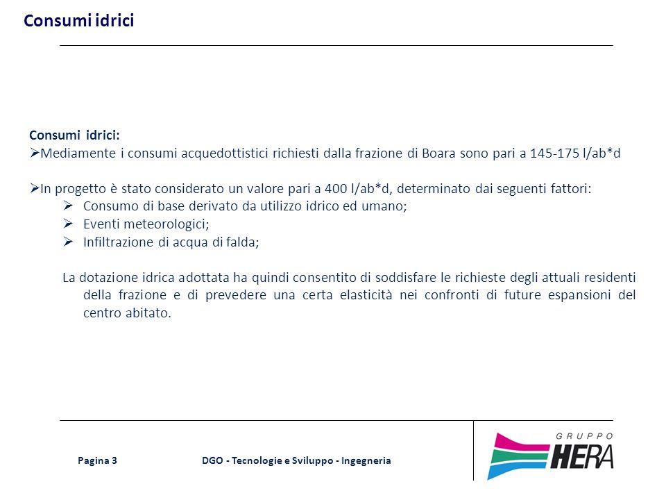 DGO - Tecnologie e Sviluppo - Ingegneria Pagina 3 Consumi idrici Consumi idrici: Mediamente i consumi acquedottistici richiesti dalla frazione di Boar