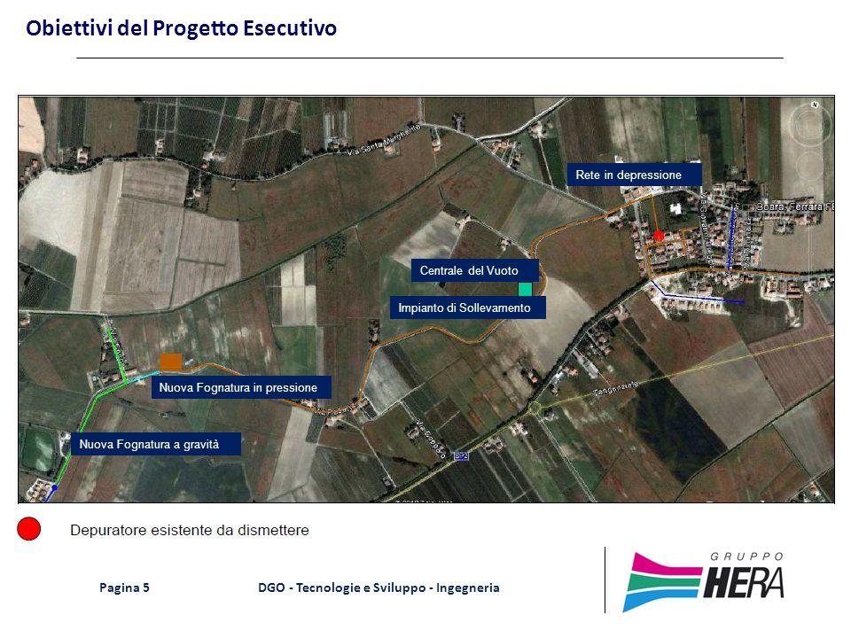 DGO - Tecnologie e Sviluppo - Ingegneria Pagina 5 Obiettivi del Progetto Esecutivo Centrale del Vuoto Impianto di Sollevamento Nuova Fognatura a gravi