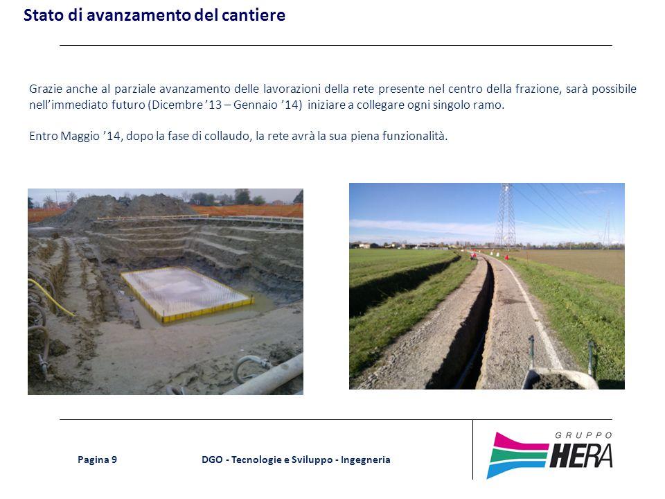 DGO - Tecnologie e Sviluppo - Ingegneria Pagina 9 Grazie anche al parziale avanzamento delle lavorazioni della rete presente nel centro della frazione
