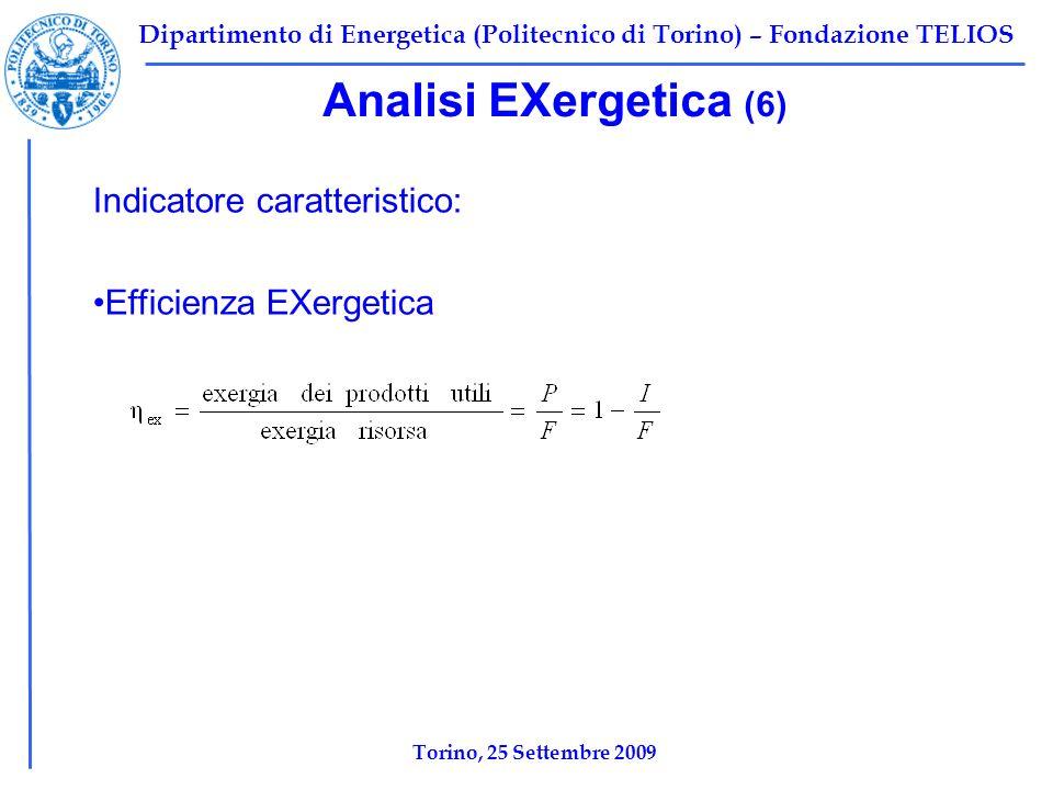 Dipartimento di Energetica (Politecnico di Torino) – Fondazione TELIOS Analisi EXergetica (6) Indicatore caratteristico: Efficienza EXergetica Torino, 25 Settembre 2009