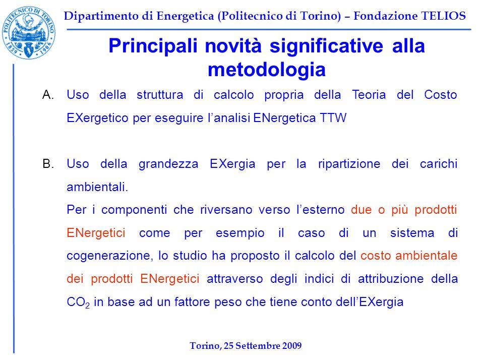 Dipartimento di Energetica (Politecnico di Torino) – Fondazione TELIOS Principali novità significative alla metodologia A.Uso della struttura di calco
