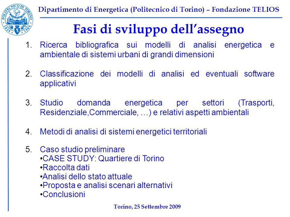 Dipartimento di Energetica (Politecnico di Torino) – Fondazione TELIOS Fasi di sviluppo dellassegno 1.Ricerca bibliografica sui modelli di analisi ene
