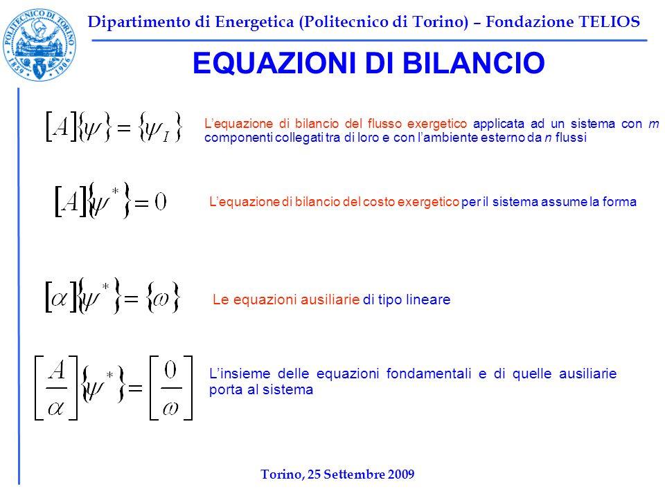 Dipartimento di Energetica (Politecnico di Torino) – Fondazione TELIOS Torino, 25 Settembre 2009 EQUAZIONI DI BILANCIO Lequazione di bilancio del flus