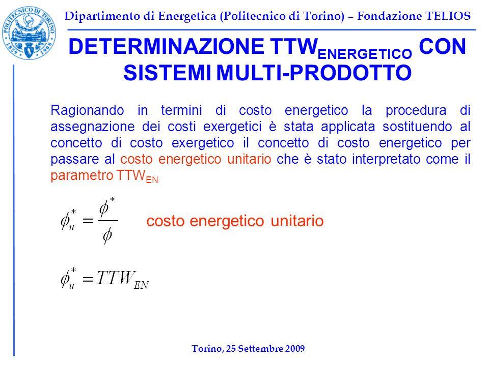 Dipartimento di Energetica (Politecnico di Torino) – Fondazione TELIOS Torino, 25 Settembre 2009 Ragionando in termini di costo energetico la procedura di assegnazione dei costi exergetici è stata applicata sostituendo al concetto di costo exergetico il concetto di costo energetico per passare al costo energetico unitario che è stato interpretato come il parametro TTW EN DETERMINAZIONE TTW ENERGETICO CON SISTEMI MULTI-PRODOTTO costo energetico unitario