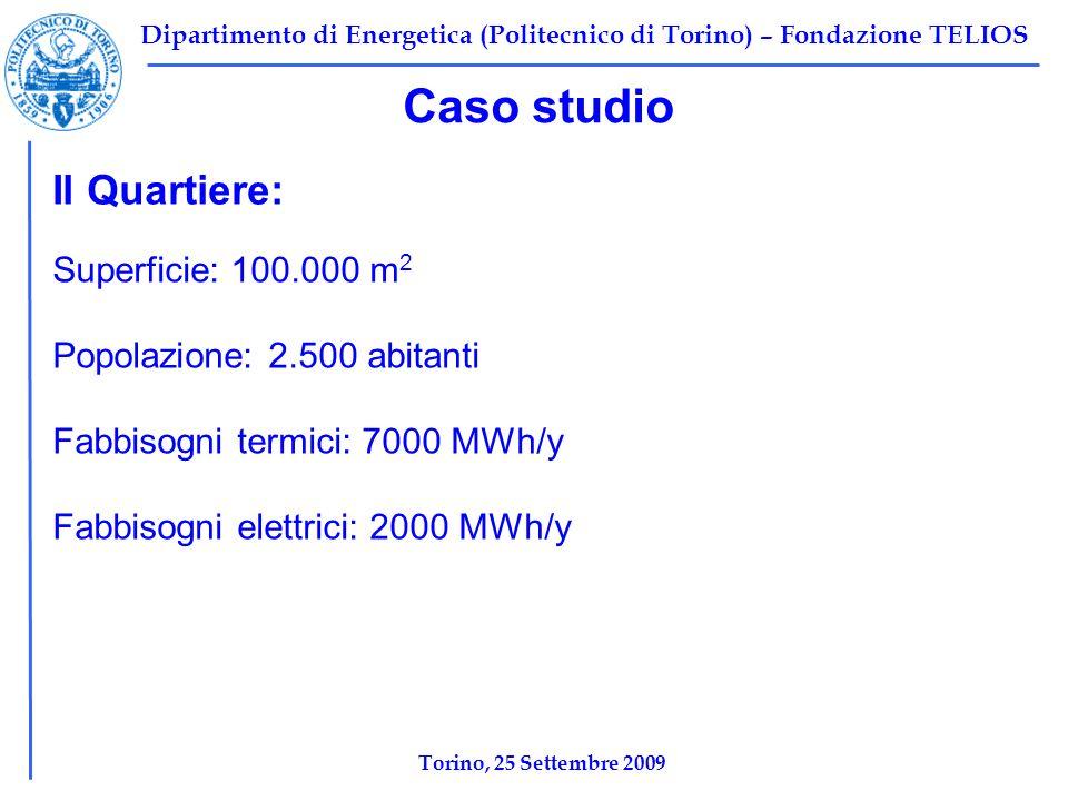 Dipartimento di Energetica (Politecnico di Torino) – Fondazione TELIOS Caso studio Il Quartiere: Superficie: 100.000 m 2 Popolazione: 2.500 abitanti Fabbisogni termici: 7000 MWh/y Fabbisogni elettrici: 2000 MWh/y Torino, 25 Settembre 2009
