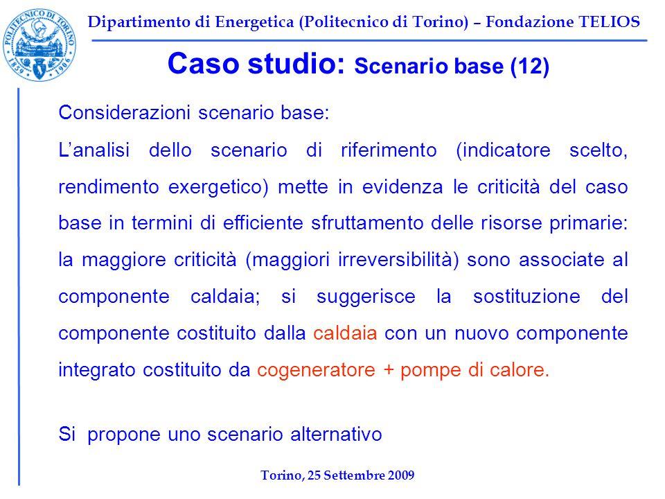 Dipartimento di Energetica (Politecnico di Torino) – Fondazione TELIOS Caso studio: Scenario base (12) Considerazioni scenario base: Lanalisi dello sc