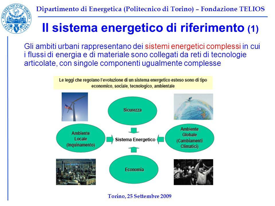 Dipartimento di Energetica (Politecnico di Torino) – Fondazione TELIOS Il sistema energetico di riferimento (1) Gli ambiti urbani rappresentano dei sistemi energetici complessi in cui i flussi di energia e di materiale sono collegati da reti di tecnologie articolate, con singole componenti ugualmente complesse Torino, 25 Settembre 2009