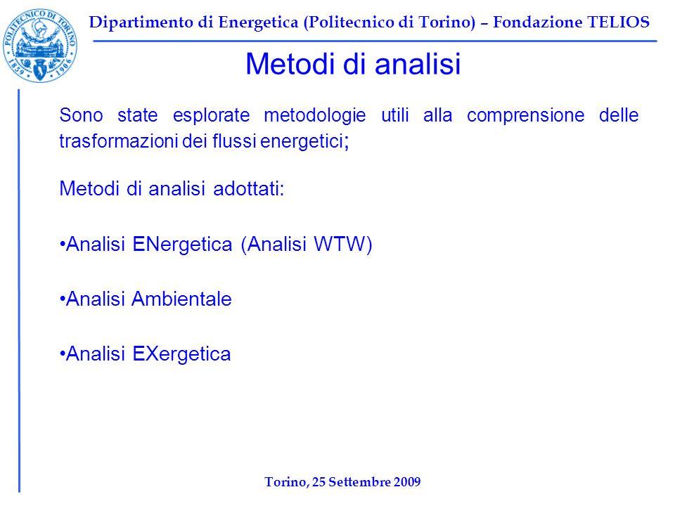 Dipartimento di Energetica (Politecnico di Torino) – Fondazione TELIOS Metodi di analisi Sono state esplorate metodologie utili alla comprensione delle trasformazioni dei flussi energetici ; Metodi di analisi adottati: Analisi ENergetica (Analisi WTW) Analisi Ambientale Analisi EXergetica Torino, 25 Settembre 2009