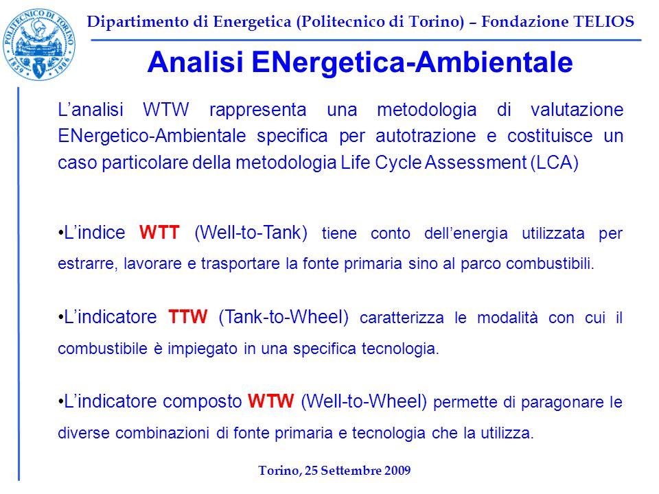 Dipartimento di Energetica (Politecnico di Torino) – Fondazione TELIOS Analisi ENergetica-Ambientale Lanalisi WTW rappresenta una metodologia di valutazione ENergetico-Ambientale specifica per autotrazione e costituisce un caso particolare della metodologia Life Cycle Assessment (LCA) Lindice WTT (Well-to-Tank) tiene conto dellenergia utilizzata per estrarre, lavorare e trasportare la fonte primaria sino al parco combustibili.
