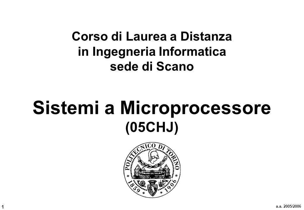 1 a.a. 2005/2006 Corso di Laurea a Distanza in Ingegneria Informatica sede di Scano Sistemi a Microprocessore (05CHJ)