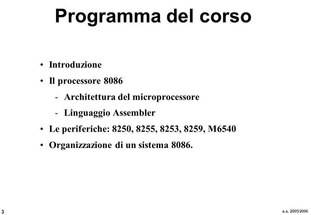3 a.a. 2005/2006 Programma del corso Introduzione Il processore 8086 -Architettura del microprocessore -Linguaggio Assembler Le periferiche: 8250, 825