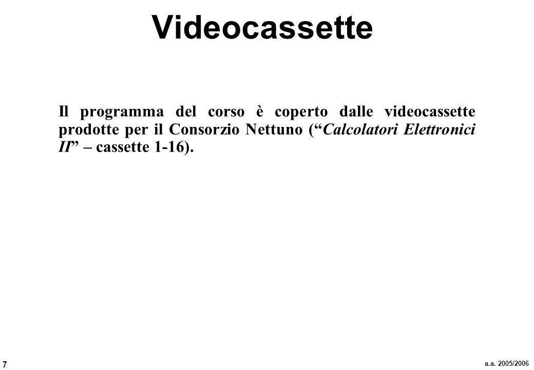 7 a.a. 2005/2006 Videocassette Il programma del corso è coperto dalle videocassette prodotte per il Consorzio Nettuno (Calcolatori Elettronici II – ca