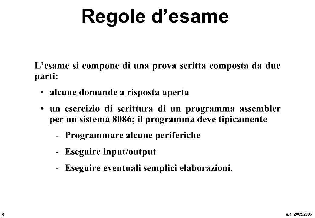 8 a.a. 2005/2006 Regole desame Lesame si compone di una prova scritta composta da due parti: alcune domande a risposta aperta un esercizio di scrittur