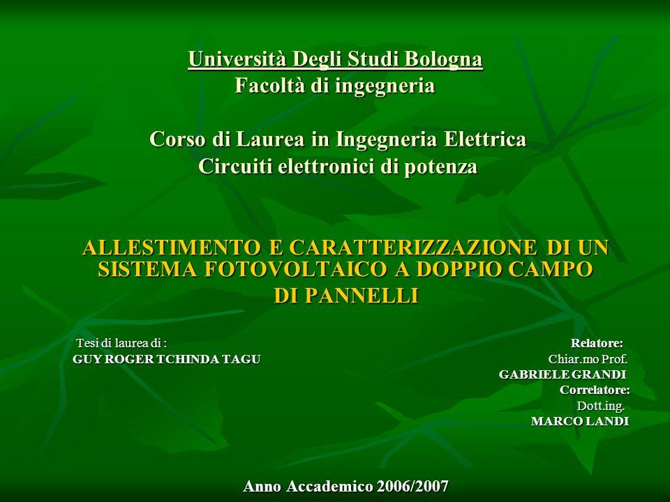 Università Degli Studi Bologna Facoltà di ingegneria Corso di Laurea in Ingegneria Elettrica Circuiti elettronici di potenza ALLESTIMENTO E CARATTERIZ