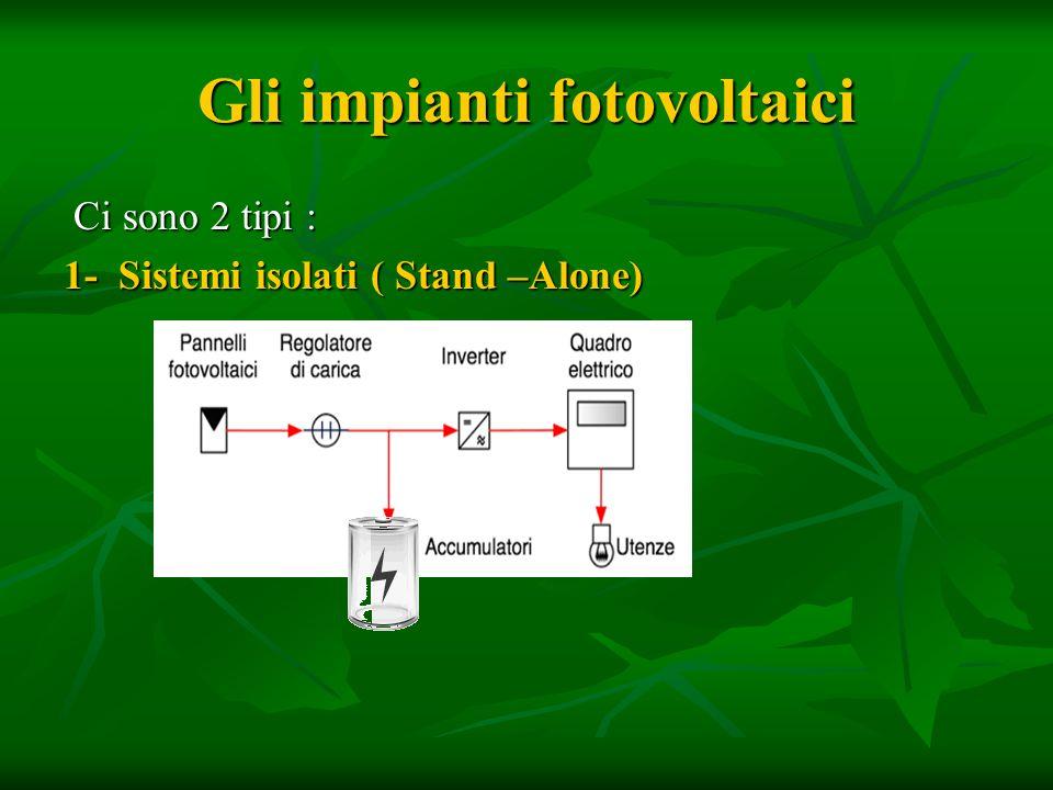 Gli impianti fotovoltaici Ci sono 2 tipi : Ci sono 2 tipi : 1- Sistemi isolati ( Stand –Alone)