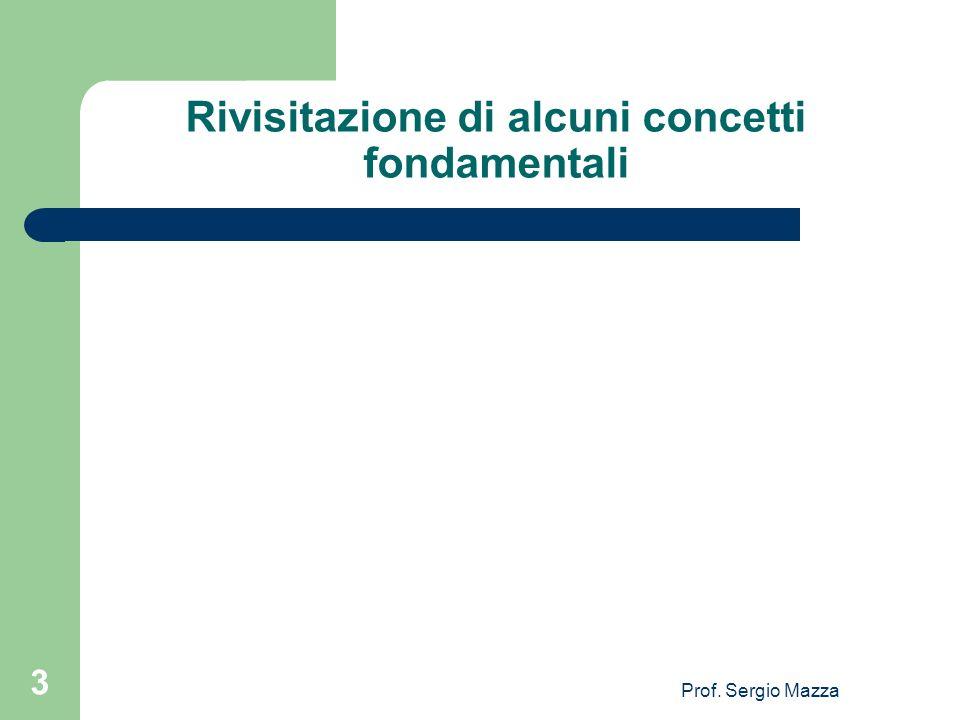 Prof. Sergio Mazza 3 Rivisitazione di alcuni concetti fondamentali