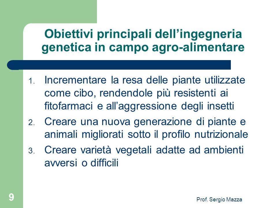 Prof. Sergio Mazza 9 Obiettivi principali dellingegneria genetica in campo agro-alimentare 1. Incrementare la resa delle piante utilizzate come cibo,