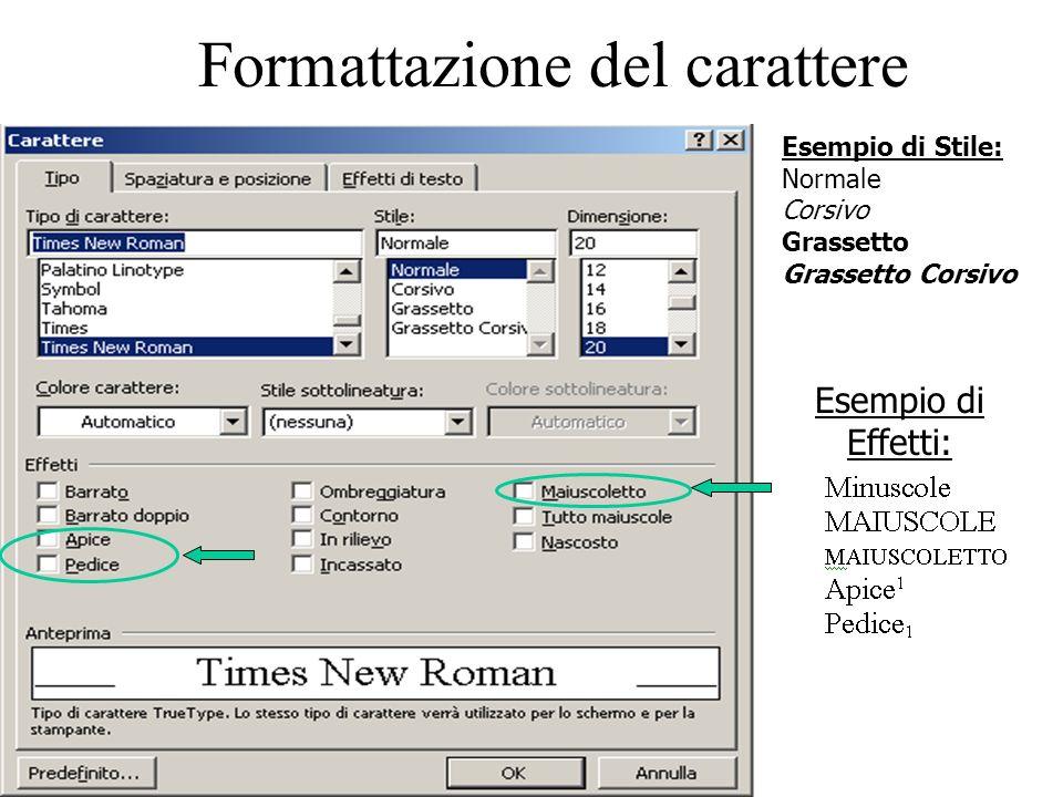 Formattazione del carattere Esempio di Stile: Normale Corsivo Grassetto Grassetto Corsivo Esempio di Effetti: