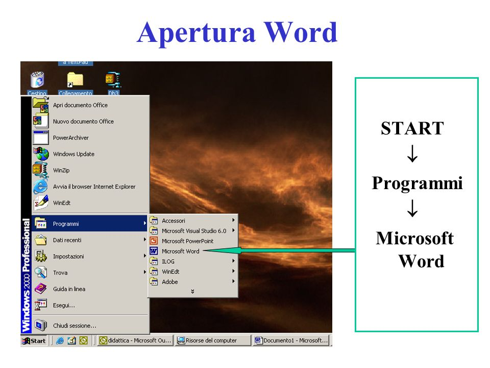 Apertura Word START Programmi Microsoft Word