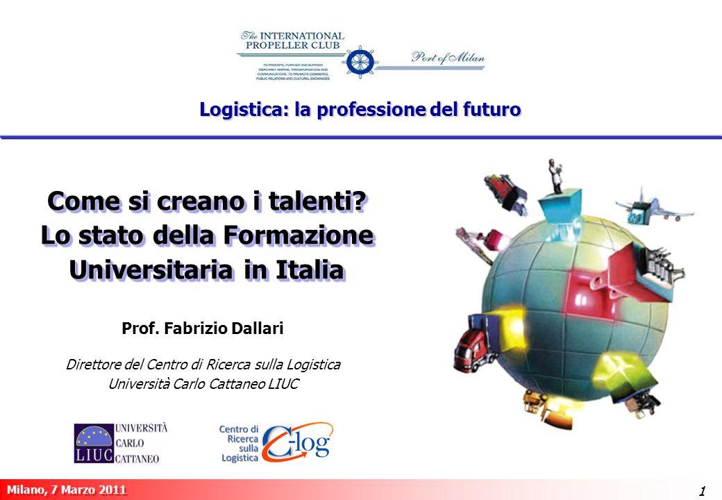 1 Milano, 7 Marzo 2011 11 Come si creano i talenti? Lo stato della Formazione Universitaria in Italia Prof. Fabrizio Dallari Direttore del Centro di R