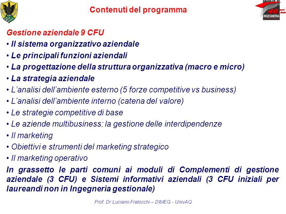 Gestione aziendale 9 CFU Lipparini, A., Economia e gestione delle imprese, il Mulino Forza, C., Limpresa e le sue aree funzionali.