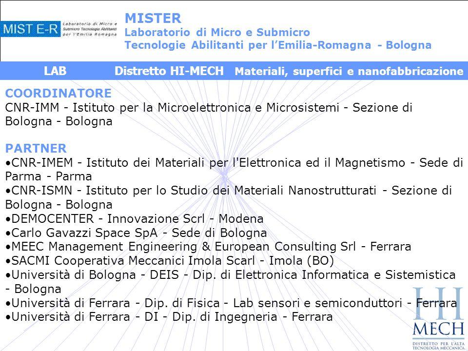 COORDINATORE CNR-IMM - Istituto per la Microelettronica e Microsistemi - Sezione di Bologna - Bologna PARTNER CNR-IMEM - Istituto dei Materiali per l Elettronica ed il Magnetismo - Sede di Parma - Parma CNR-ISMN - Istituto per lo Studio dei Materiali Nanostrutturati - Sezione di Bologna - Bologna DEMOCENTER - Innovazione Scrl - Modena Carlo Gavazzi Space SpA - Sede di Bologna MEEC Management Engineering & European Consulting Srl - Ferrara SACMI Cooperativa Meccanici Imola Scarl - Imola (BO) Università di Bologna - DEIS - Dip.