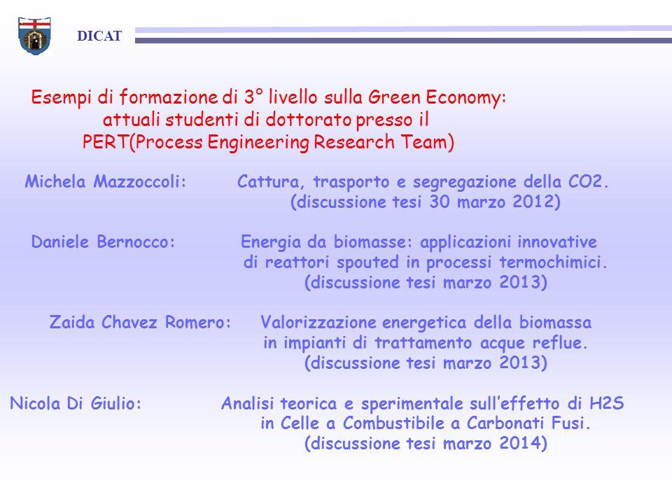 DICAT Esempi di formazione di 3° livello sulla Green Economy: attuali studenti di dottorato presso il PERT(Process Engineering Research Team) Michela Mazzoccoli: Cattura, trasporto e segregazione della CO2.