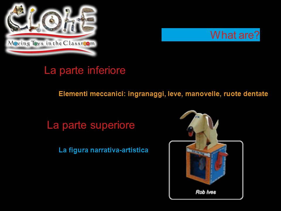 What are? La parte inferiore Elementi meccanici: ingranaggi, leve, manovelle, ruote dentate La figura narrativa-artistica La parte superiore