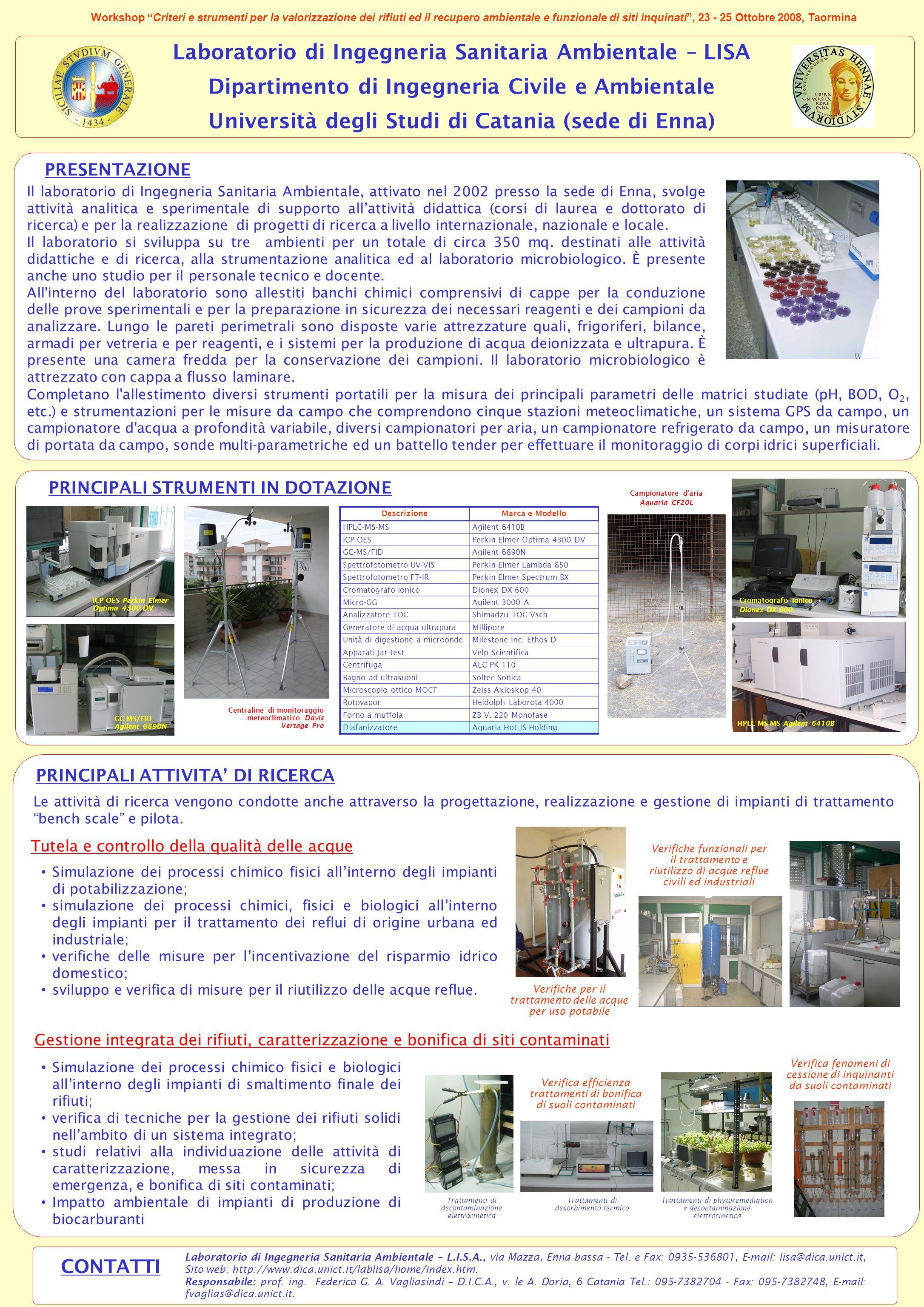 Laboratorio di Ingegneria Sanitaria Ambientale – LISA Dipartimento di Ingegneria Civile e Ambientale Università degli Studi di Catania (sede di Enna)